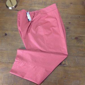 NWT Talbots Pink & White Polka Dot Crop Pants